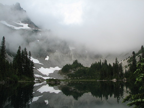 Snow Lake in morning fog by The Bacher Family