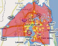 not much green on Walk Score's map of Jacksonville (by: Walk Score)