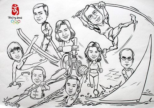 Group caricatures for Microsoft APAC Team ink and brush