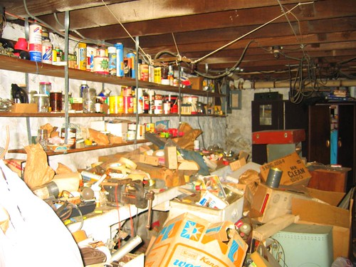 Shelf of home chemicals