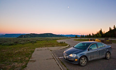The Jetta at Sunset (IsthmusMediaGroup) Tags: travel sunset vacation foothills snow nature water car rockies moving twilight driving hiking wideangle roadtrip backpacking valley fault vehicle incar rockymountains wyoming teton volkswagon glacial mountainrange grandtetonnationalpark vwjetta sigma1020 westernunitedstates crispair canonxsi