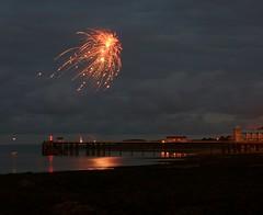 Penarth Festival Fireworks 2008 (The Groovster) Tags: longexposure sea summer sky beach festival wales night clouds reflections evening coast seaside waves fireworks 2008 penarth thegroovster