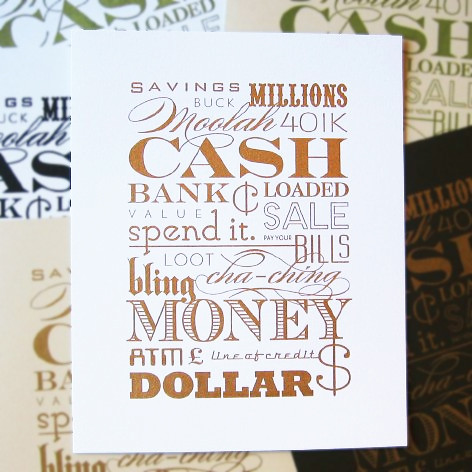 Cash Money Print :: Bright White by Orange Beautiful