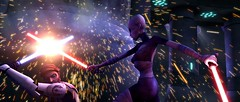 Jedi Knight Obi-Wan Kenobi comes face-to-face with arch-nemesis Asajj Ventress during a climactic battle in STAR WARS: THE CLONE WARS.