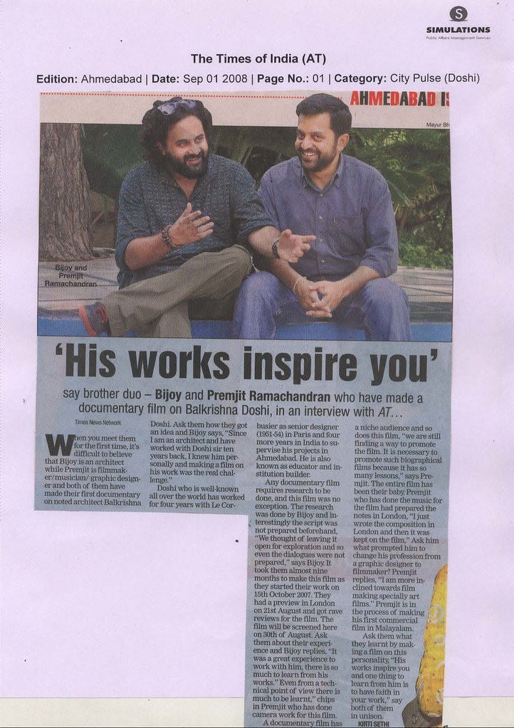 Article in the Times of India