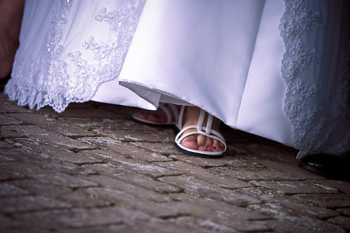 bridal feet with sandals