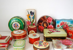 my tin collection (ATLITW) Tags: flowers retro collection eclectic homedecor tins thrifted