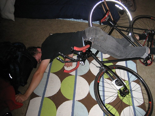 Steve Jo, having taken a fall from his fixie in the livingroom