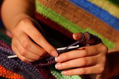 My Winter Blanket (Ghanayem) Tags: blue orange green colors yellow finger crochet gray nails needle blanket alfalah