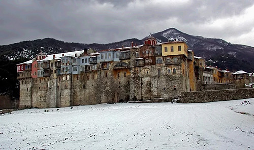 Iveron Monastery in snow