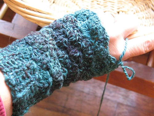 Teal Twist Mitts take one