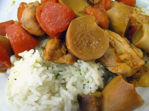Braised Chicken with Mushrooms and Carrots on Flavoured Rice