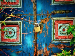 Beauty you cannot hide (maistora) Tags: life door wood old blue shadow red flower color colour tree green rot art history abandoned beauty leaves yellow neglect turkey design wooden eyes rust closed paint mediterranean branch time squares lock antique decay turquoise circles glory painted traditional memories neglected atmosphere istanbul historic crack chain story abandon age strip memory backgrounds weathered aged former shrub stories padlock locked highlight turkish shut decorated balkan supershot otoman abigfave maistora rubyphotographer anawesomedetail