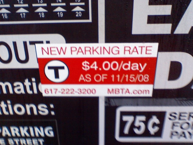MBTA Parking rates increase