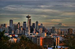 The Needle & Rainier (papalars) Tags: seattle city sunset sky mountain skyline clouds buildings wow washington fantastic downtown dusk best rainier winner stunning spaceneedle kerrypark mtrainier digitalrebelxt seattlecenter themountain supershot theunforgettablepictures papalars a3b andrewelarsen andrewlarsen damountain andrewlarsenphotography kerryparkmystique