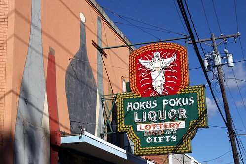 hokus pokus neon sign and painted backdrop