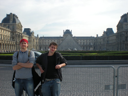 At the historic Louvre Art Museum in Paris, France with good friend Sean Blanda on Oct. 13, 2008.
