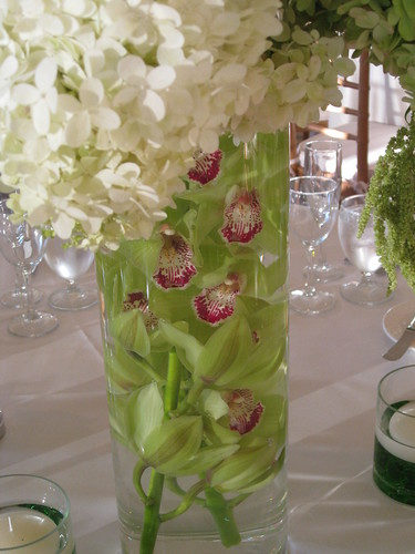 Green cymbidium orchids wedding centerpiece