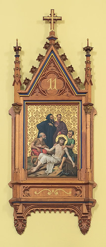 Saint Cecilia Roman Catholic Church, in Bartelso, Illinois, USA - 11th Station of the Cross, Jesus is Nailed to the Cross