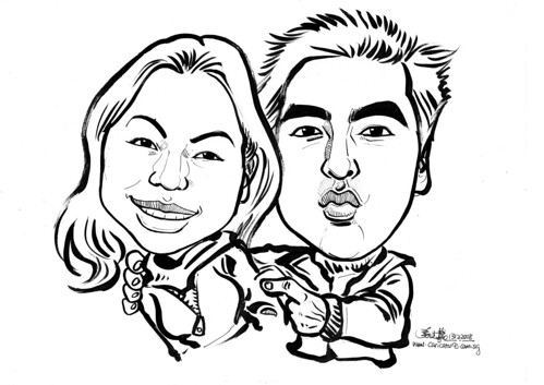 Couple caricatures in ink 131208