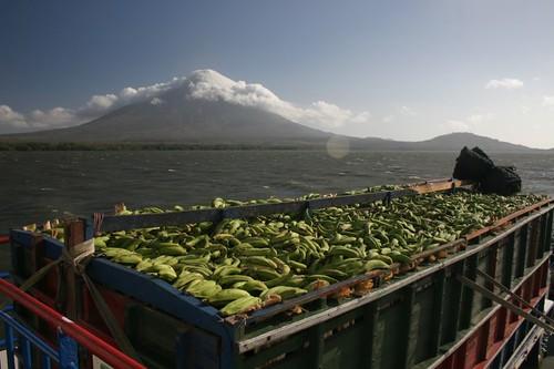 Banana truck on ferry on Lake Nicaragua.