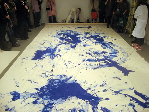 "Lilibeth Cuenca Rasmussen's re-enactment of ""Anthropometries of the Blue Period"" (1960) by Yves Klein"