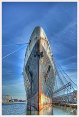 "American for ""Knife"" (griffsflickr) Tags: philadelphia pier dock rust ship bow anchor slip normandie hdr griff lucis ssunitedstates"
