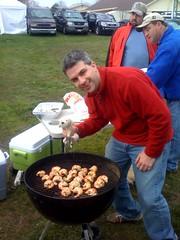 Hmmm, shrimp. Dukie is helping make some shrimp.