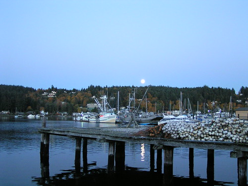 Gig Harbor Moon over Fishing Boats