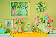 Spring Things (boopsie.daisy) Tags: flowers color bunnies home colors painting easter spring colorful pretty tulips display books kitsch wreath pastels decor layla mantle dollies perky dreamingofspring posedolls dollfacedesign laylalove