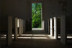 Come On In (MilkaWay) Tags: door light shadows interior pews opendoor abandonedchurch baptistchurch presbyterianchurch mtzionchurch ruralchurch hancockcounty ruralgeorgia ga15