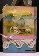 Serendipity Canvas (tropicalart77) Tags: pink yellow vintage lace tradingcard victorian canvas ribbon hymn cracklepaint