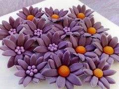 Purple Fondant Daisies (SmallThingsIced) Tags: flowers orange daisies purple fondant cachous