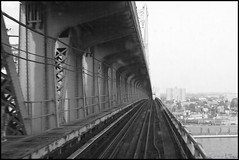 Over The Ben Franklin Bridge (Harpo42) Tags: bridge blackandwhite motion philadelphia train view camden horizon over tracks nj elevated benfranklinbridge patco delawareriver speedline benjaminfranklinbridge drpa