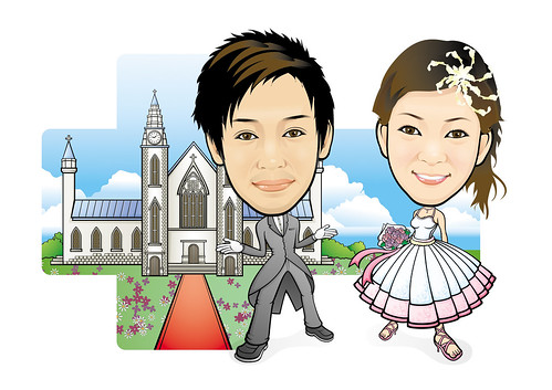 Q-Digital Caricatures couple wedding