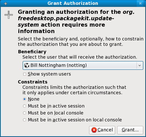 Fig 8. Granting a new authorization
