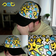 ChombaSheriff Stick-A-Thing custom cap-o-rama (Stick-A-Thing_____S_____ A_____T) Tags: blue urban white black art hat fashion yellow star design gorro estrela cap marker customized characters doodles custom blitz stern thunder mtze acryl streetwear thunderbolt posca chomba stickathing