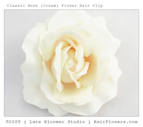 Cream Rose Flower Hair Clip
