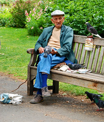 Birdman of St James's park* (Crazy Kernow) Tags: park jamess reflectyourworld birdmanpigeonsbirdsold manfeedinglondonst