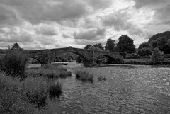 Old Bridge Llanwryst Wales (John Mickleborough) Tags: blackwhitephotos justclouds