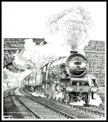 PRINCESS MARIE LOUISE (Norfolkboy1) Tags: england pen ink br pacific cumbria stipple rapidograph steamlocomotive lms shap 462 6206 originaldrawing 46206 princessmarielouise princessclass sirwilliamstanierfrscme panthonybromage
