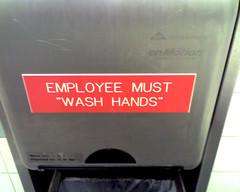 """Wash hands"" (nudge, nudge, wink, wink)"