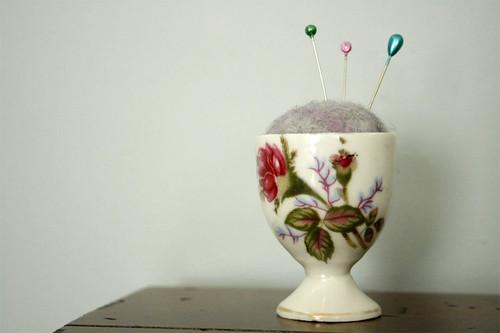 egg cup pincushion