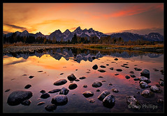 Grand Teton Sunset (Chip Phillips) Tags: park pink sunset red orange yellow reflections river landscape photography bravo rocks snake phillips grand national chip wyoming teton tetons colorphotoaward boatislandpoetry