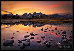 Grand Teton Sunset (Chip Phillips) Tags: park pink sunset red orange yellow reflections river landscape photography bravo rocks snake phillips grand national chip wyoming teton tetons colorphotoaward boatislandpoetry