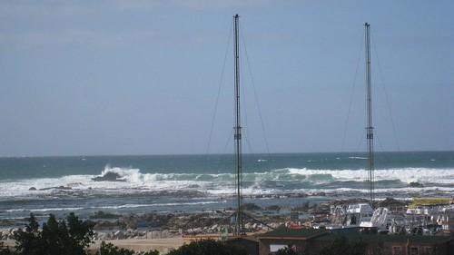 Large swells smash into the rocks around Gansbaii harbor