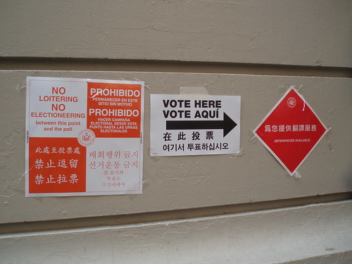 Voting station signs