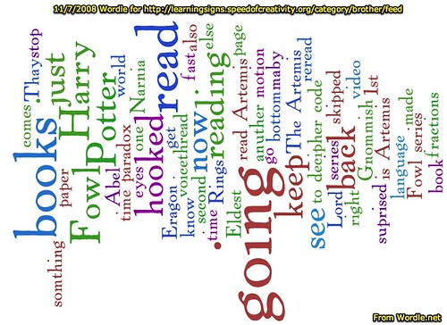 Wordle for Alexander's recent blog posts on Learning Signs