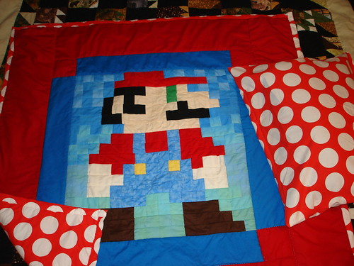 Super Mario Quilt and matching pillow