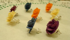 BIG ROSE EARSTUDS (PETIT  PORTERbefore Hand) Tags: wood orange flower cute nature rose vintage purple handmade cream craft pop rosebud lilly kawaii romantic earrings cabochon earstud petrolblue ukdiy
